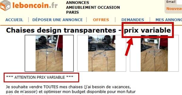 Leboncoinfr Vend Chaises Prix Variable Algofly