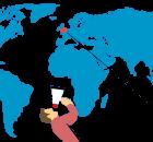 Carte du monde représentant la liaison aérienne entre Londres et Perth en Australie.